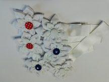 Textilvirágos mágneses elkötő,fehérek