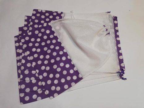 Öko bevásárló zsák csomag lila pöttyös 5 db-os