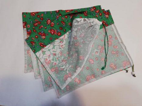 Öko bevásárló zsák csomag zöld virágos 5 db-os