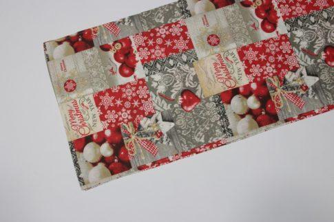 Piros mintás karácsonyi futó 35 cm X 140 cm
