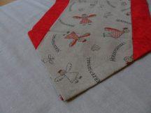 Piros szélű angyalkás futó 140 cm X 35 cm